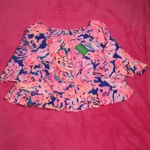 Lilly Pulitzer Corie Top swirling seadream print